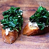 Vegetarian Appetizers: Sautéed Kale and Burrata Bruschetta