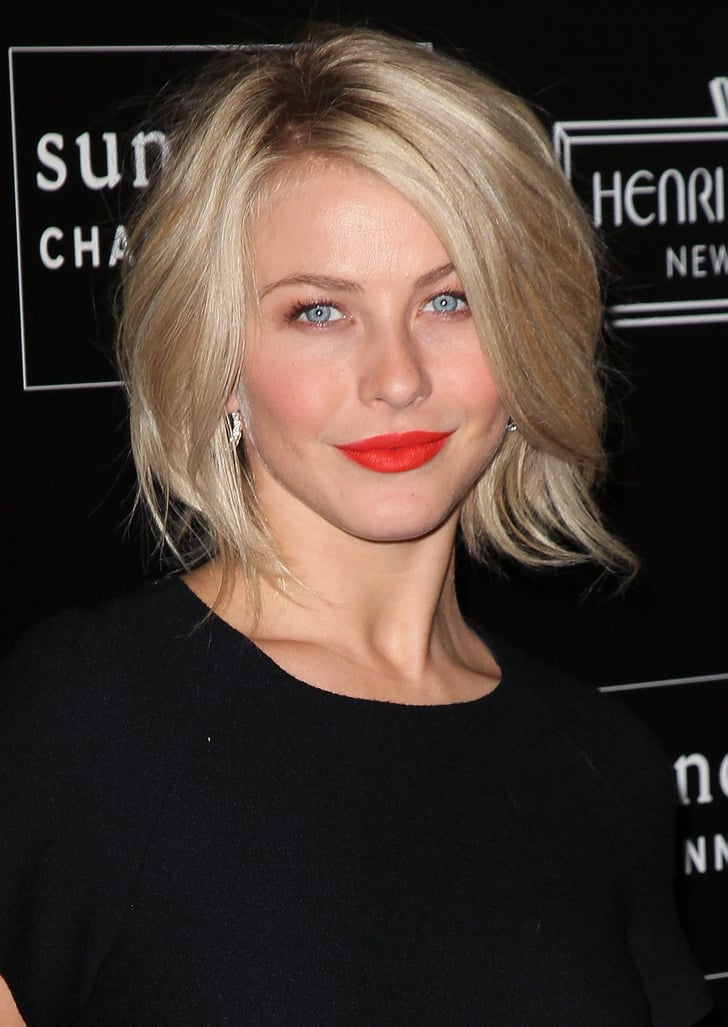 Julianne Hough Wore Bright Red Lipstick With A Black Dress