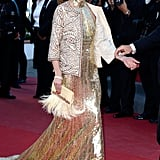 A Bedazzled Floor-Sweeping Dress