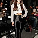 Shenae Grimes hit Emerson's Fall show in a cropped knit and slick leggings.
