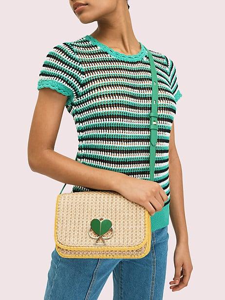 Nicola Raffia Twistlock Medium Shoulder Bag