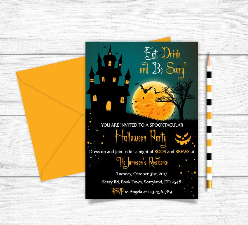 Eat, Drink, and Be Scary Invite ($9) | Printable Halloween Party ...