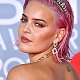 Anne-Marie's Chunky Glitter Lids and Candy-Floss-Pink Hair at the 2020 BRIT Awards