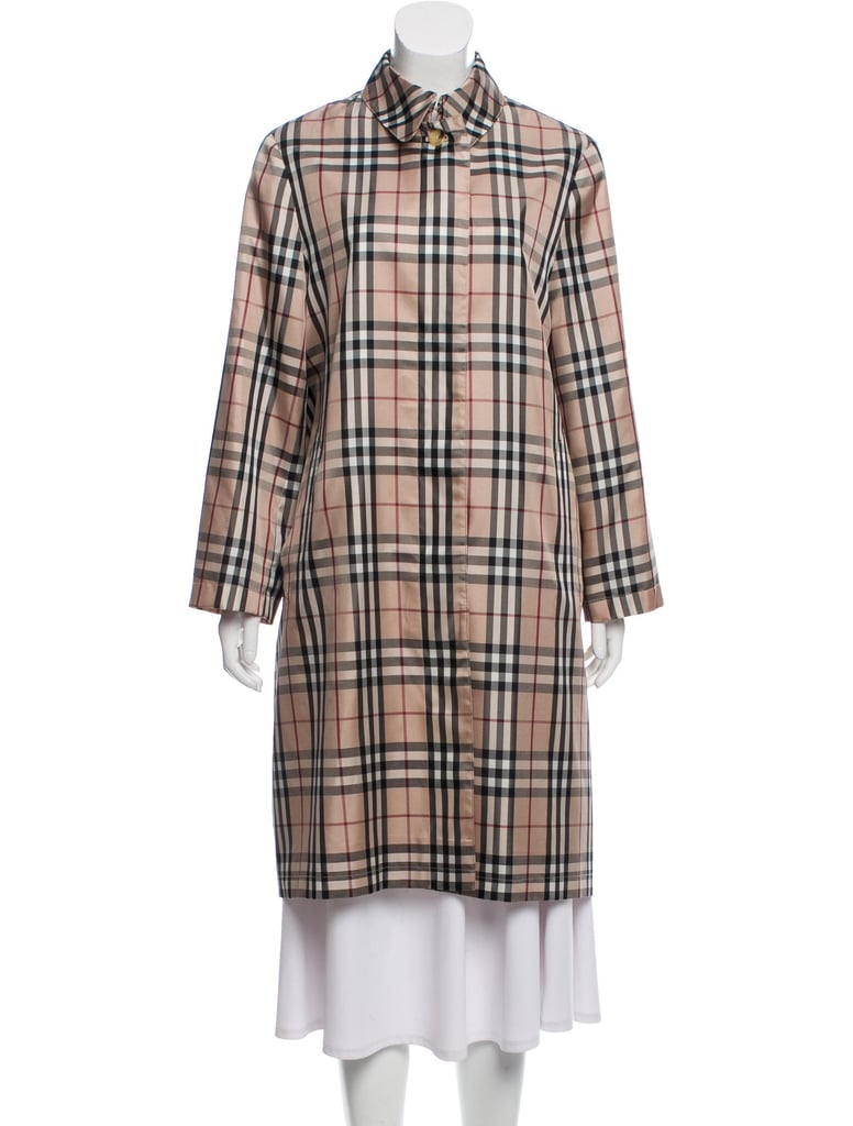 Burberry London Plaid Print Trench Coat