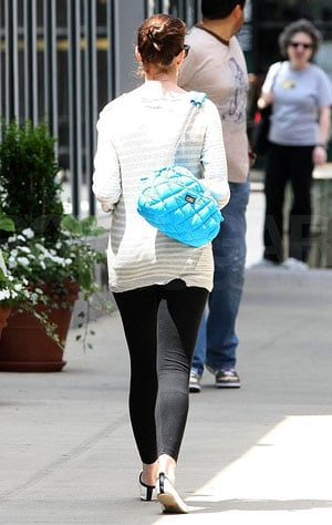 Anne Hathaway on the Streets of New York With Turquoise Chanel Bag