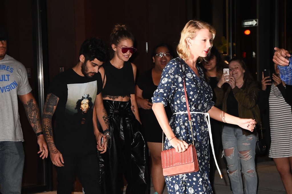"""Following their date night in NYC over the weekend, Gigi Hadid and Zayn Malik hit the town with pal Taylor Swift on Monday. The trio was photographed leaving Gigi's apartment and Taylor happily lead the way to their car. Zayn and Gigi coordinated their looks in all-black outfits, while Taylor opted for a navy Tommy x Gigi dress. The late-night outing comes just a few days after Gigi debuted her collection with Tommy Hilfiger at NYFW. Taylor, of course, was front and centre cheering her friend on as she hit the catwalk, and later took to Instagram to congratulate her. Along with a sweet shout-out, the """"Bad Blood"""" singer included a video of herself singing along to ex-boyfriend Calvin Harris's """"This Is What You Came For,"""" which could possibly be a response to the DJ's recent quotes about her in GQ magazine.       Related:                                                                                                           Gigi Hadid and Zayn Malik Are One Ridiculously Good-Looking Couple"""
