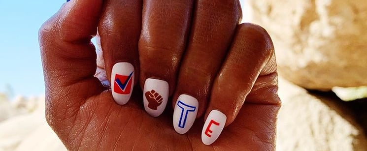 Celebrities Wearing Vote-Themed Nail Art This Year
