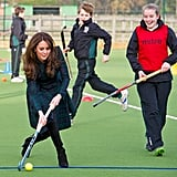 Kate Middleton wowed the crowd with her lacrosse skills during a visit to St. Andrew's School in Berkshire, England, in November 2012. Kate played on the school's team during her time as a student there and delighted the current pupils when she joined them for a game.