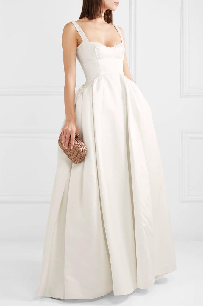 Emilia Wickstead White Diamond Duchesse-Satin Gown