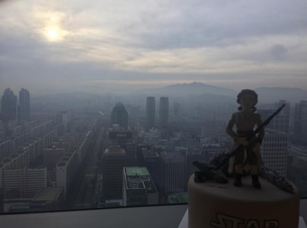 """GOOD MORNING SEOUL!!! And yes that is a Rey cake!!!"""