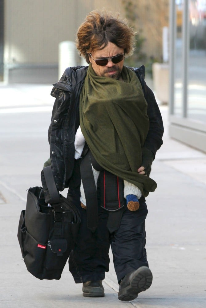 Peter Dinklage carried his daughter Zelig in a BabyBjörn carrier back in early 2012.