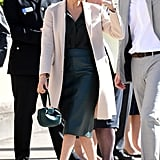 ‎Meghan Markle Carrying a Gabriela Hearst Demi Emerald Satin Tote Bag