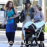 Robin and Blake Lively strolled through Beverly Hills with a friend and her baby.