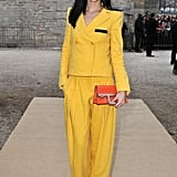 Leigh Lezark opted out of her usual black garb in favour of this bright yellow menswear-inspired suit at the Sonia Rykiel show.