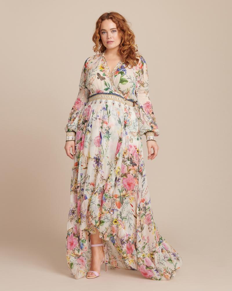 Celebrity Wedding Guest Outfits 2019: Camilla Blouson-Sleeve Wrap Dress