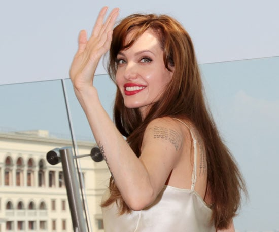 Slide Picture of Angelina Jolie Promoting Salt in Russia
