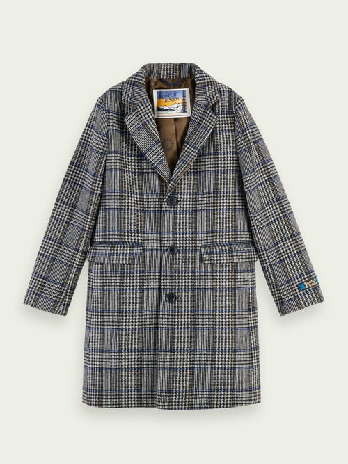 Scotch and Soda Wool-Blend Long Sleeve Checked Coat