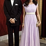 Donning the looks they wore to the BAFTA dinner in LA, the wax Duke and Duchess of Cambridge posed at Madame Tussauds in London.