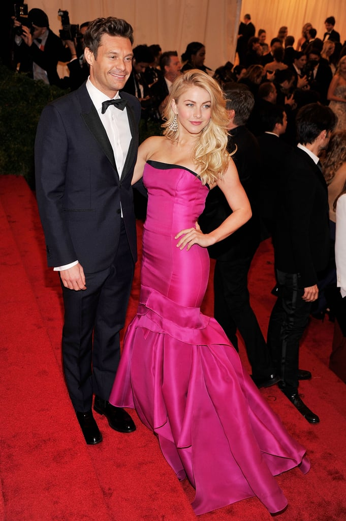Julianne Hough dressed up in a hot pink Carolina Herrera gown and chandelier earrings from Jacob & Co. for the annual Met Gala in NYC tonight. She had boyfriend Ryan Seacrest by her side for the fashionable event, which also brought out Kristen Stewart, Cameron Diaz, Gwyneth Paltrow, Beyoncé, and more. There were so many daring looks at this evening's soiree, so make sure to weigh in with all of Fab's Met Gala red carpet fashion polls!