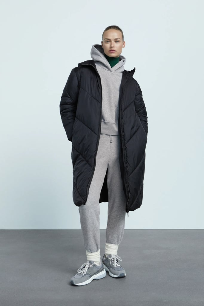A Long Puffer: Zara Water and Wind Protection Puffer Coat With Removable Sleeves