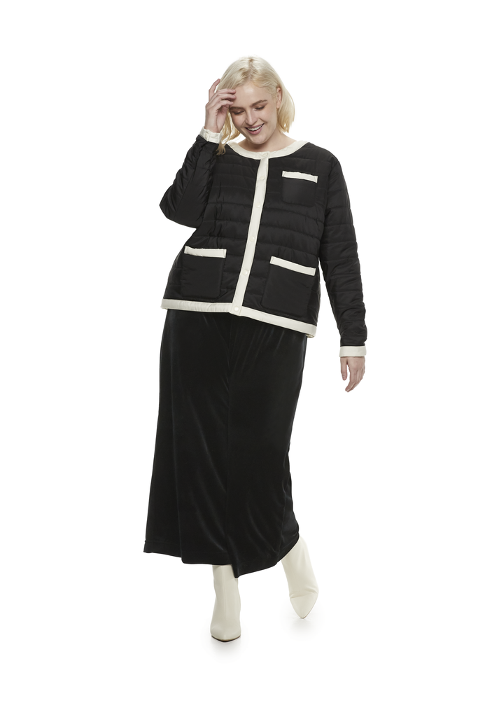 Collarless Colorblocked Puffer in Jet Black