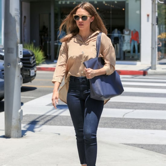Jessica Alba's Jeans and Tucked-In Shirt Look June 2016