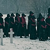 "Damn, could this be our glimpse at the ""Unwomen"" who live and work in the Colonies?! Or are the handmaids being punished for what goes down at the end of season one? Either way, these outfits are intense."