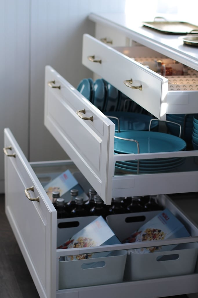 Ikea's new Sektion cabinet organisers help to squeeze out as much utility as possible. These plate organisers make it easy to keep extra plates in drawers if you run out of cabinet space.