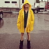 Emma Roberts posed on the rainy set of We're the Millers. Source: Instagram user emmaroberts6