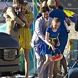 The New Normal's Justin Bartha, Andrew Rannells, Bebe Wood, and Georgia King filmed a touching scene on the beach in Santa Monica, CA, on Monday.