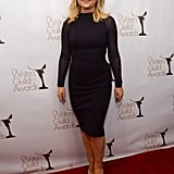 Amy Poehler donned a formfitting Hervé Leroux dress paired with Charlotte Olympia pumps and Dana Rebecca Designs earrings.