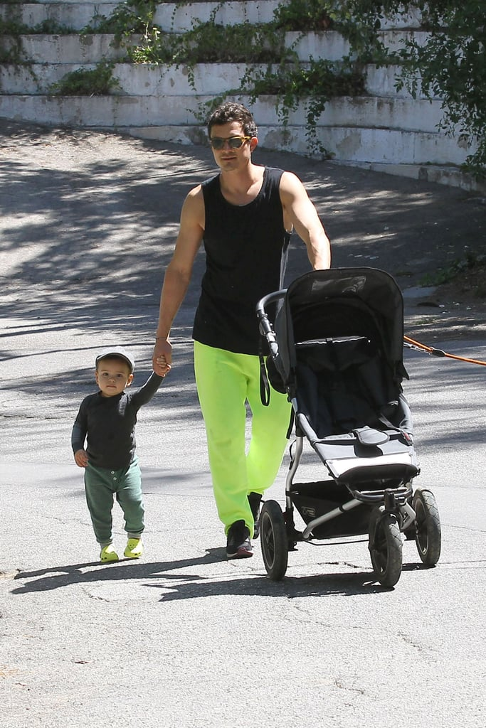 Orlando Bloom went for a Father's Day stroll with his son, Flynn, in LA.