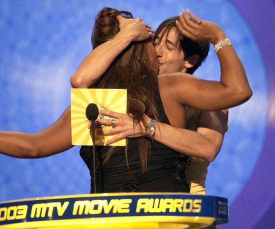 Adrien Brody gave Queen Latifah a kiss on stage in 2003.