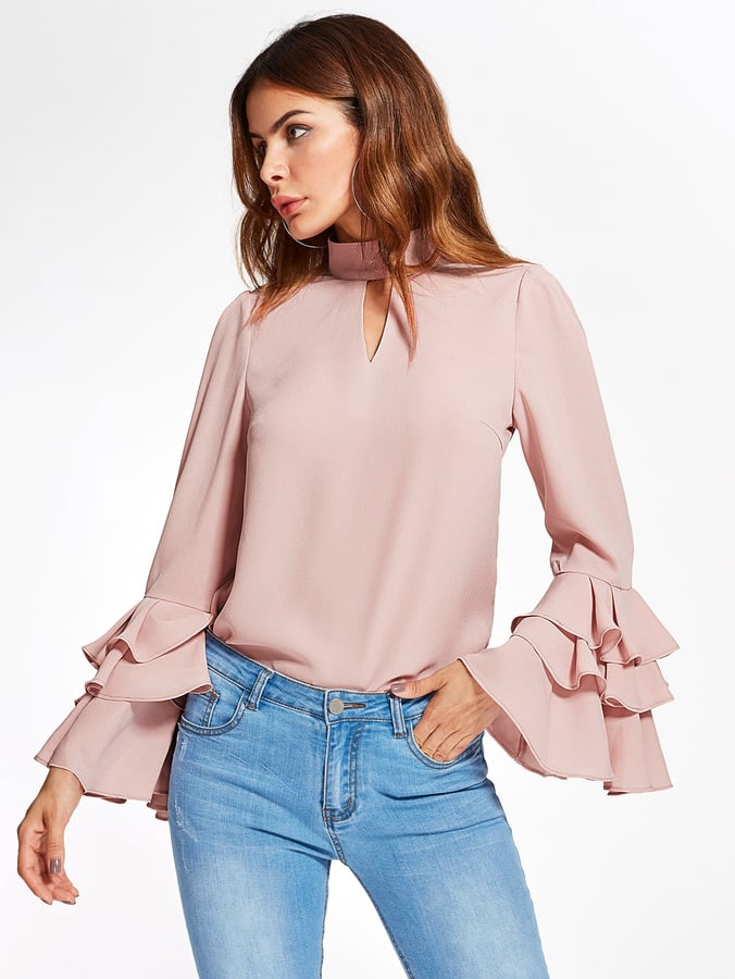 adafcddd1dc3 Shein Exaggerate Bell Sleeve Keyhole High Neck Top | Best Tops From ...
