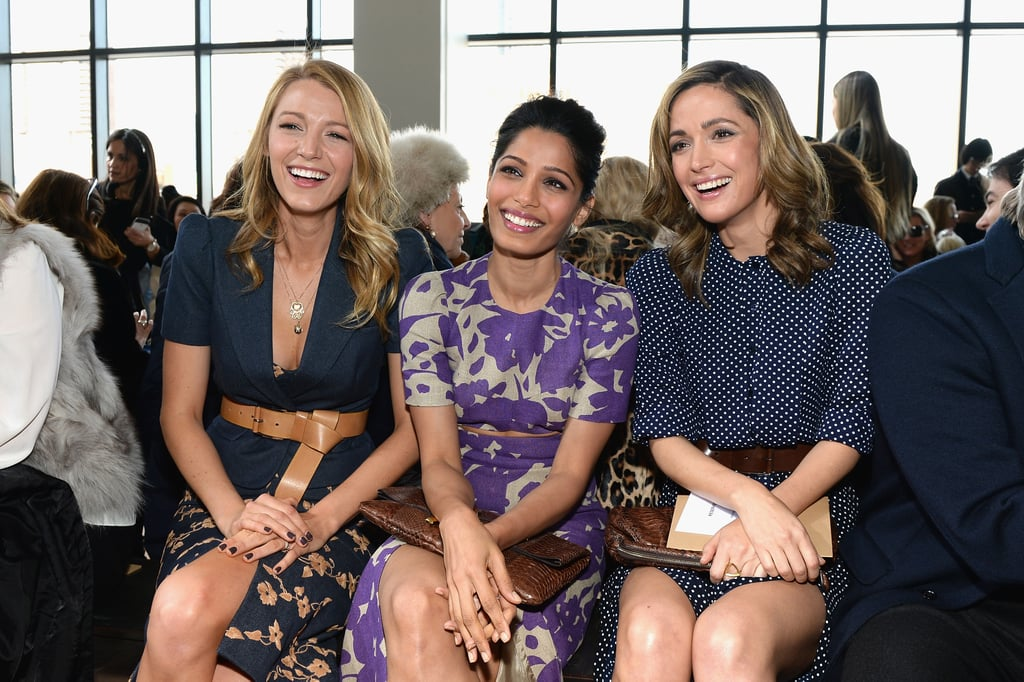 Blake Lively sat in the front row with Freida Pinto and Rose Byrne at the Michael Kors runway show on Wednesday morning.