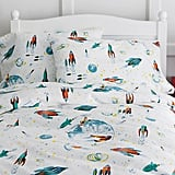 Garnet Hill Kids Glow-in-the-Dark White Rockets Flannel Bedding