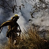 Firefighter Jason Mendoza worked to extinguish the flames in Glendora, CA.