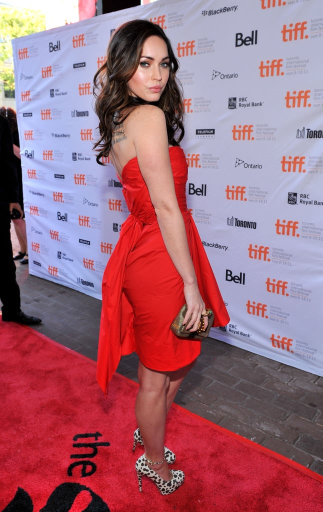 Megan Fox in a red dress.