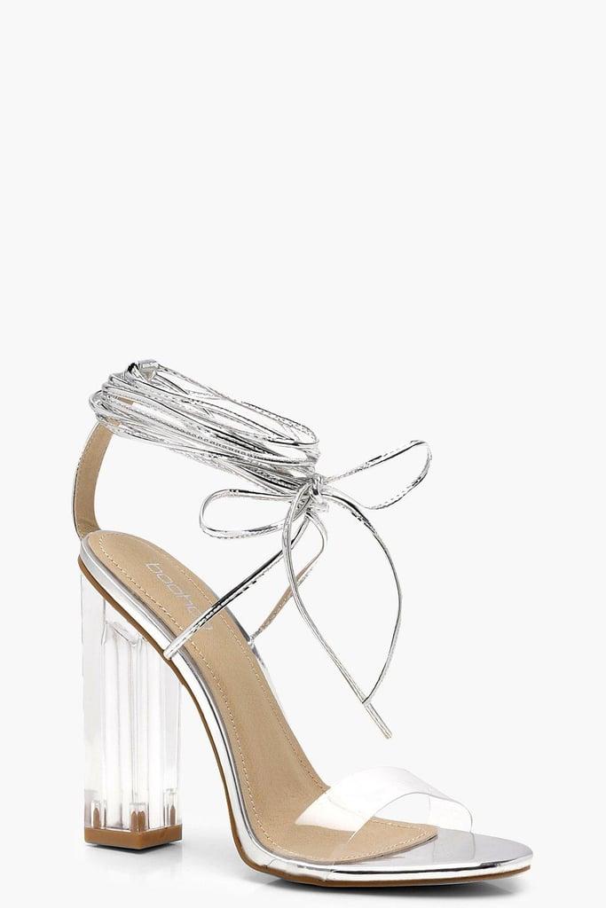7f4200c7a2 Alternative: Boohoo Clear Heel Wrap Strap Sandals | Lady Gaga Sexy ...