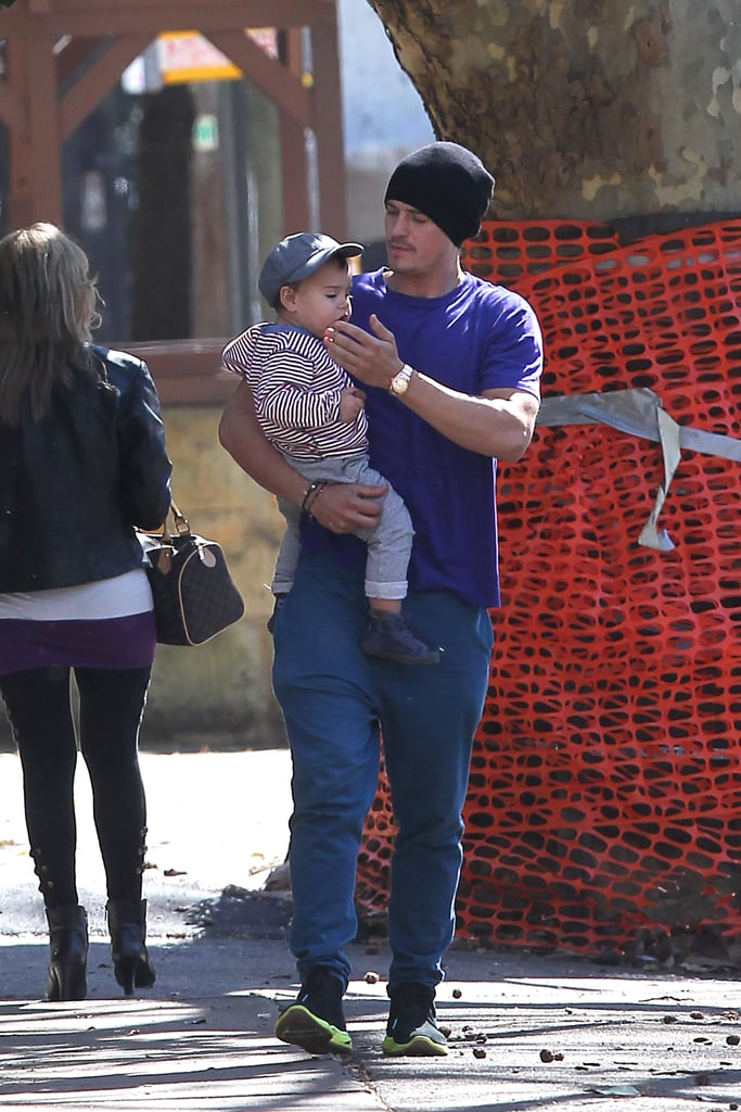 Orlando Bloom Gives Flynn a Lift During a Sunny Sydney Stroll