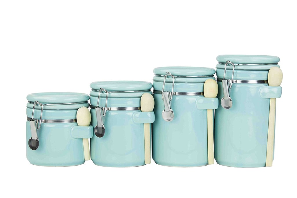 Home Basics Ceramic Canister Set With Spoons