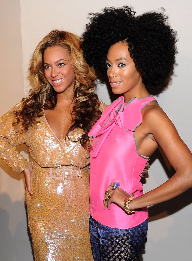 Beyoncé Knowles and Solange Knowles struck a similar pose.