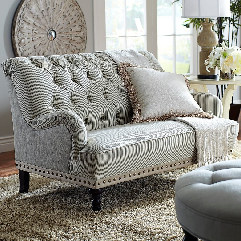 Chas Blue And White Seersucker Loveseat Best Small Space