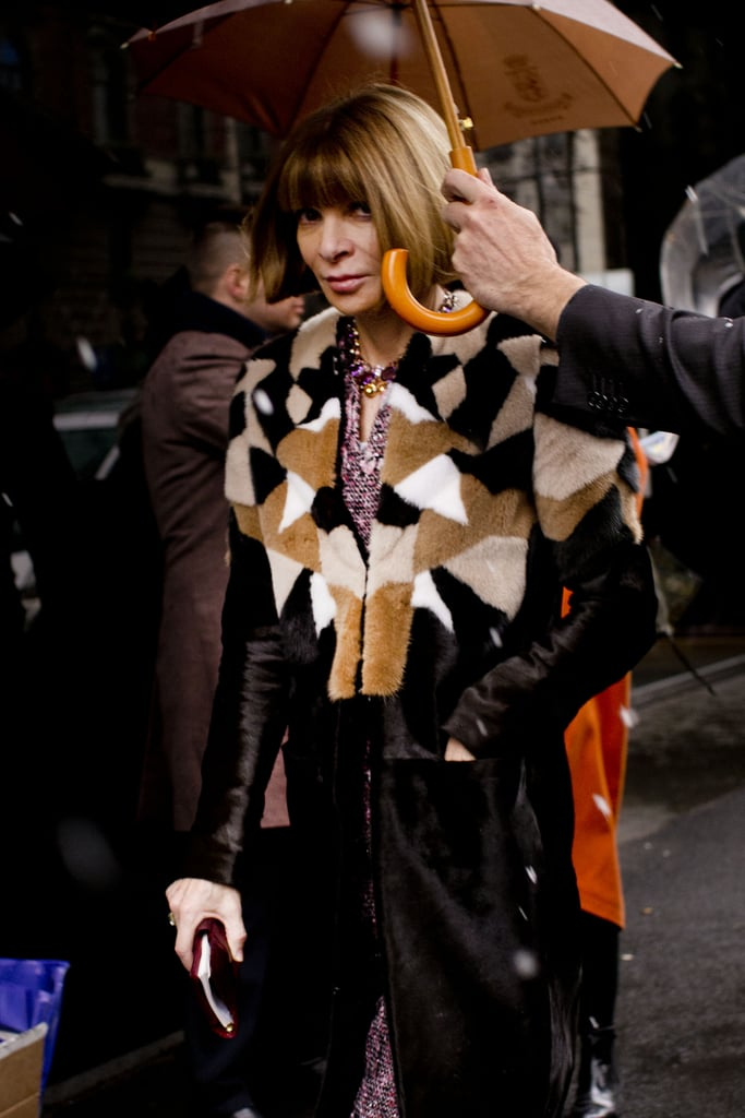 Anna Wintour donned a patchwork fur on her way into the shows.