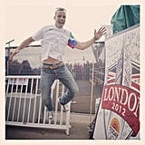 South Africa's Oscar Pistorius got excited in London.  Source: Twitter user todayshow