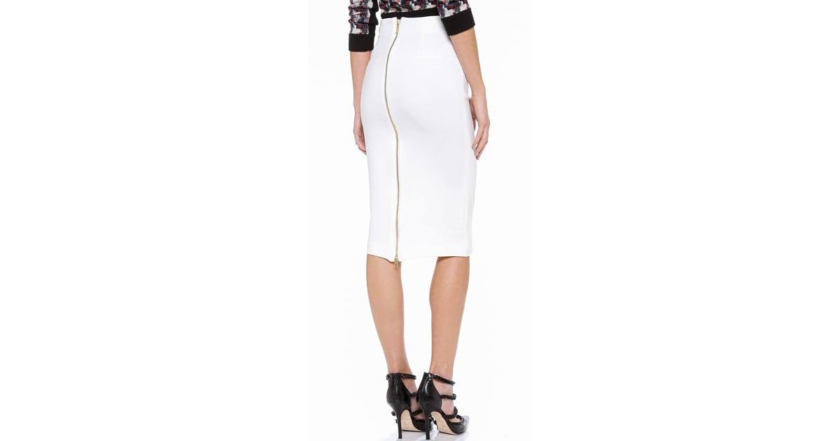 5th mercer white pencil skirt with zipper pencil