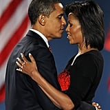 Barack and Michelle looked in love after he won the election.