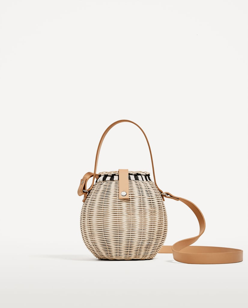 Zara's raffia bag ($80) is one part picnic basket, one part bucket bag.