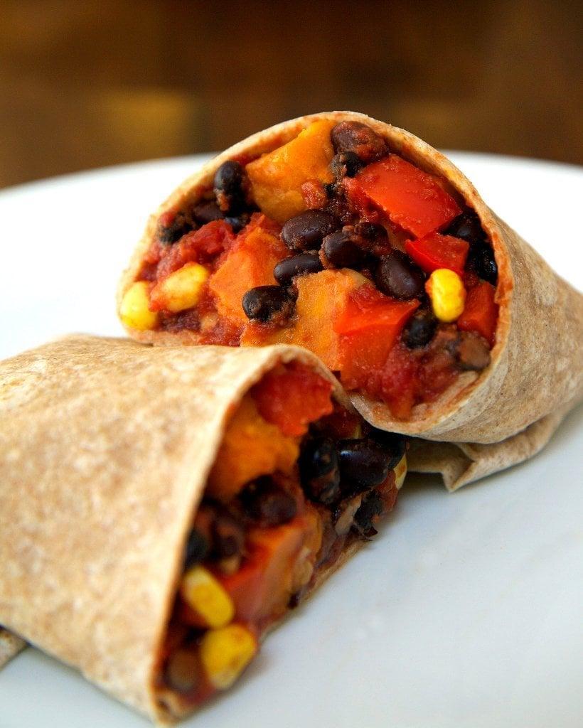 Vegan Roasted Sweet Potato and Black Bean Burrito