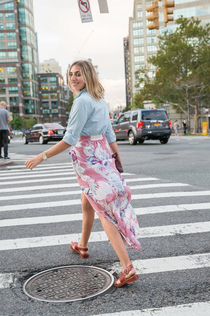 A Breezy Floral-Printed Skirt That Works Well With Neutral Slingbacks